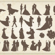 Bride and groom in wedding silhouettes illustration collection background v — Stock Vector #9071766