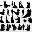 Bride and groom in wedding silhouettes illustration collection background v — Stock Vector