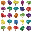Colorful tree silhouettes illustration collection background vector — Stock Vector