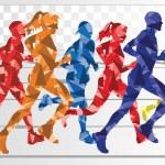 Marathon runners colorful background illustration vector — Stock Vector #9072214