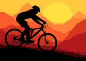 Mountain bike bicycle riders in wild nature landscape background illustrati — Stock Vector