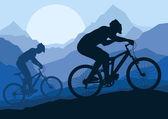 Водители велосипедов горных велосипедов в дикой природе пейзаж фон illustrati — Cтоковый вектор