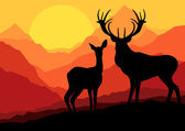 Familia de ciervos en la montaña salvaje naturaleza paisaje fondo ilustración vecto — Vector de stock