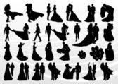 Mariée et le marié en mariage silhouettes illustration collection fond v — Vecteur