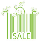 "The bar- code vector background with curl elements and text ""SALE"" — Stock Vector"