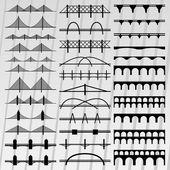 Pont silhouettes illustration collection fond vecteur — Vecteur