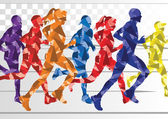 Marathon runners colorful background illustration vector — Stock Vector