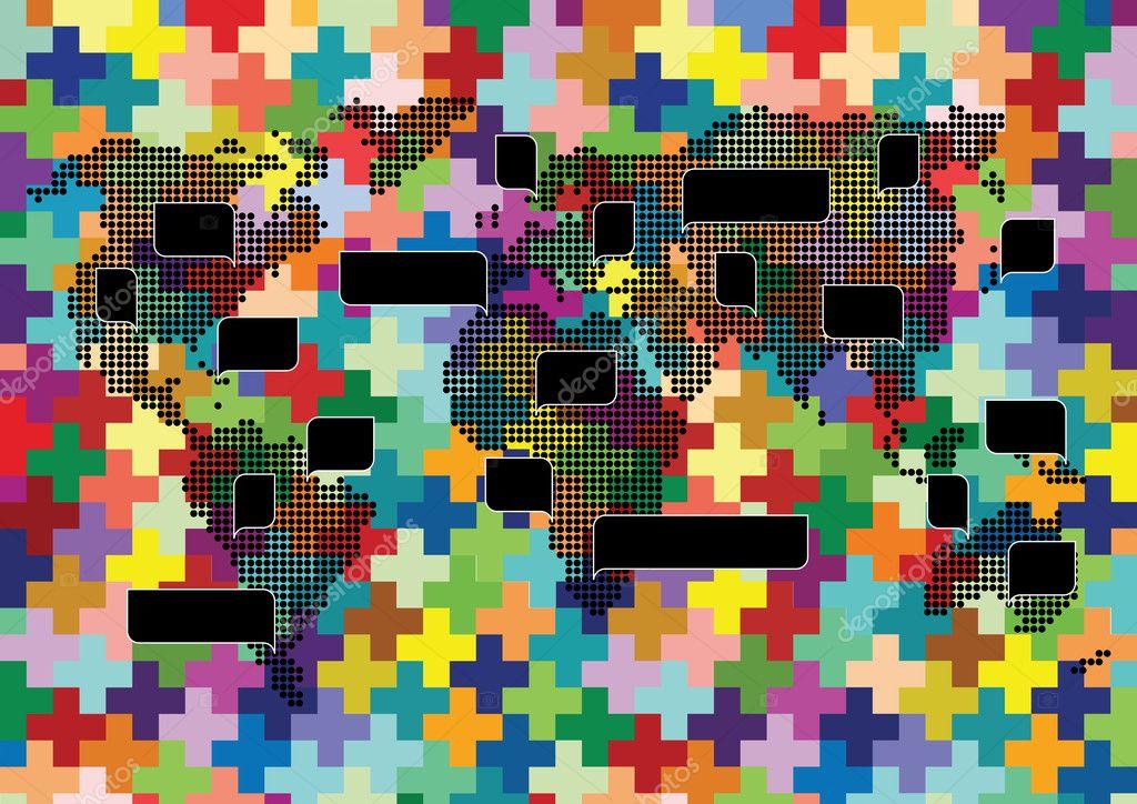 世界地图针织马赛克与多彩语音气泡图背景矢量的海报— vector by k3