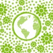 Green and clean ecology earth globe concept vector background with flowers around it — Stock Vector #9707821