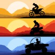 All terrain and sport motorbike riders motorcycle silhouettes reflection collection in wild mountain landscape background illustration vector — Stock Vector #9707830