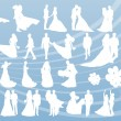 Bride and groom in wedding silhouettes illustration collection background vector — Stock Vector