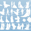 Bride and groom in wedding silhouettes illustration collection background vector — Cтоковый вектор