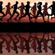 Royalty-Free Stock Vectorafbeeldingen: Walking, running and cycling in old vintage city park landscape background illustration vector