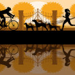 Royalty-Free Stock Vector Image: Walking, running and cycling in old vintage city park landscape background illustration vector