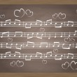 Stok Vektör: Chalkboard With Music Notes. Vector Illustration for poster