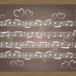 Vector de stock : Chalkboard With Music Notes. Vector Illustration for poster