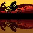 Sport motorbike riders motorcycle silhouettes reflection in wild mountain landscape background illustration vector — Stock Vector