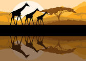 Giraffe family silhouettes in Africa wild nature mountain landscape background illustration vector — Stock Vector
