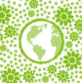 Green and clean ecology earth globe concept vector background with flowers around it — Cтоковый вектор