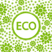 Fundo do vector do conceito de ecologia verde e limpa terra globo com flores ao seu redor — Vetor de Stock