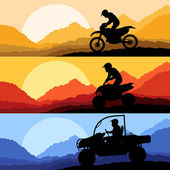All terrain and sport motorbike riders motorcycle silhouettes reflection collection in wild mountain landscape background illustration vector — Stock Vector