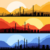 Industrial oil refinery factory landscape illustration collection background vector — Stock Vector