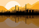 Industrial oil refinery factory landscape background illustration vector — Stock Vector