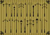Vintage gatlykta detaljerad silhuetter bild samling bakgrund vektor — Stockvektor
