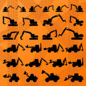 Construction site loaders machinery detailed editable silhouettes illustration collection background vector — Vetorial Stock