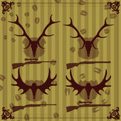 Deer and moose horns hunting trophy illustration collection background vector — Stock Vector