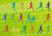 Corredores de maratón familiar vector de ilustración de fondo del paisaje — Vector de stock