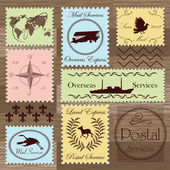 Vintage postage stamps and elements illustration collection background vector — Stock Vector