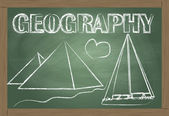 Geography on the classroom blackboard vector background — Vettoriale Stock