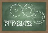 物理学ベクトル歯車黒板と背景 — ストックベクタ