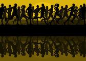 Corredores de maratón en naturaleza salvaje montaña paisaje fondo ilustración vectorial — Vector de stock