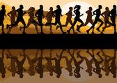 Marathon runners in wild nature mountain landscape background illustration vector — Stock Vector