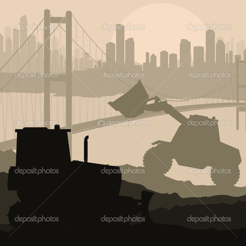 Construction machinery and bulding place vector background for poster — Stock Vector #9708041