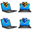 Shield antivirus laptop 3D and 2D — Stock Vector