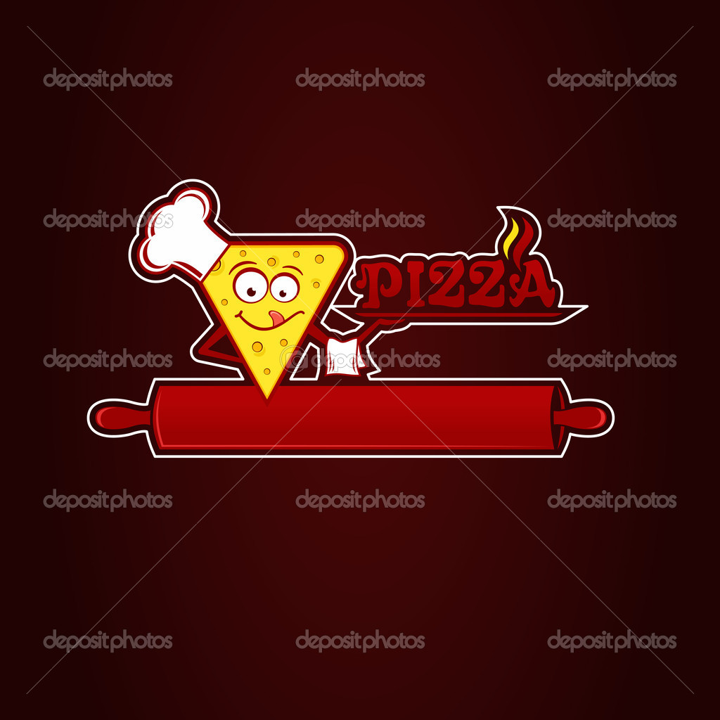 Hunk of pizza, logotype for pizzeria. Vector Illustration.  Stock Vector #10026466
