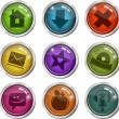 Stock Vector: Glassy buttons for interface