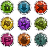 Bottoni vitrei per interfaccia — Vettoriale Stock