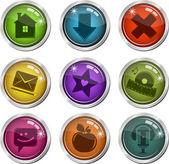 Vidriosos botones de interfaz — Vector de stock