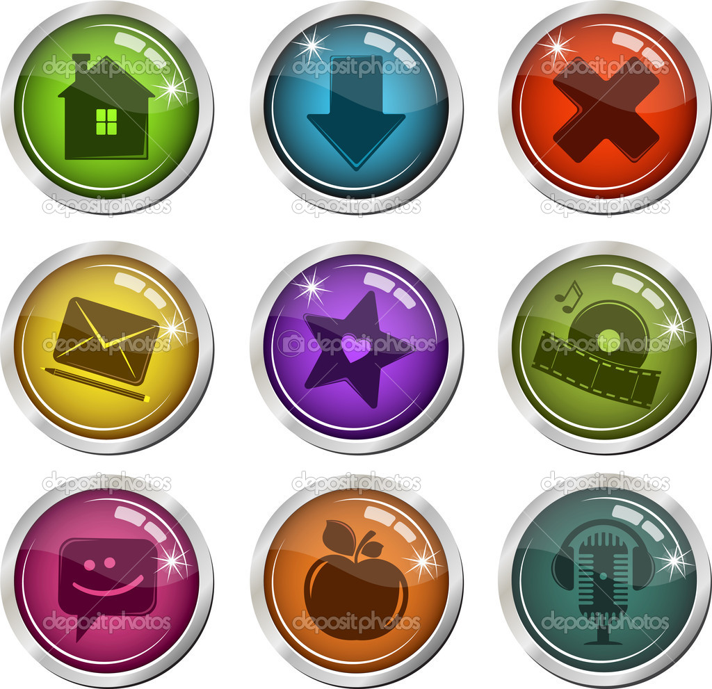 Collection of glassy buttons for interface. Vector Illustration. — Stock Vector #7981961