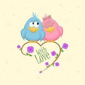 Pájaros del amor en la rama, ilustración vectorial — Vector de stock