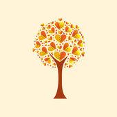 Albero con forma di cuore, foglie, illustrazione vettoriale — Vettoriale Stock