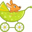 Baby animal in the stroller, vector illustration — Imagens vectoriais em stock