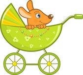 ベクトル イラスト、ベビーカーで赤ちゃん動物 — ストックベクタ
