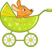 Baby animal in the stroller, vector illustration — Vecteur