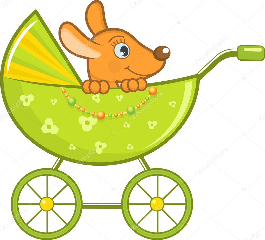 Baby animal in the green stroller. Vector Illustration. — Stock Vector #8858371