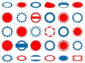 30 的蓝色和红色标签集 — 图库矢量图片